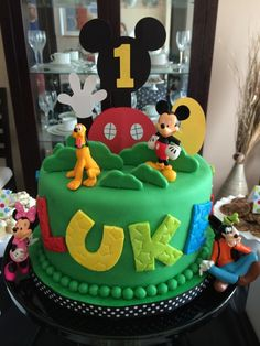 Sweet Simplicity Bakery: Mickey Mouse Clubhouse Dessert and Candy Buffet Table Display; Clubhouse Cake with Fondant Accents and Disney Characters