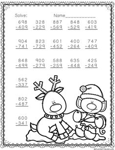 Need extra subtraction practice? These ten pages focus on three digit subtraction. Most problems require regrouping. No prep, just print and go. There is an answer key included. Math Division Worksheets, Math Practice Worksheets, Printable Math Worksheets, Math Resources, Math Activities, Christmas Worksheets, Christmas Math, Math For Kids, Fun Math