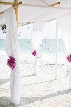 purple beach wedding arch decor ideas