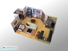 Jerry Seinfeld's Apartment DIY Miniature Model by EverydayMiniatures on Etsy https://www.etsy.com/listing/218840888/jerry-seinfelds-apartment-diy-miniature