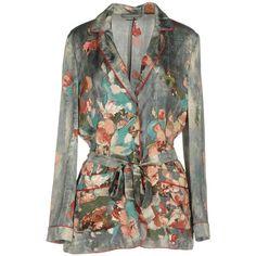 Alberta Ferretti Blazer (€765) ❤ liked on Polyvore featuring outerwear, jackets, blazers, grey, long sleeve blazer, gray jacket, alberta ferretti jacket, long sleeve jacket and grey blazer jacket