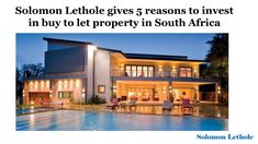 Solomon Lethole gives 5 reasons to invest in buy to let property in South Africa through this amazing presentation. For more info visit: aprix-construction. Solomon, South Africa, Investing, Construction, Let It Be, Mansions, House Styles, Amazing, Pdf