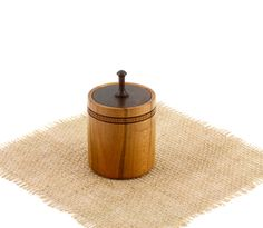 Wooden Round Cherry Box with Spinning Top Cover by WoodExpressions