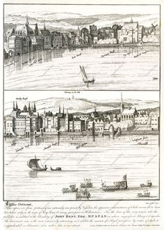 MAPCO Map And Plan Collection Online : Part of Visscher's Panoramic View of London, Rare London, London Map, Old London, London History, British History, Garden Stairs, Building Images, Explore Travel, London Photos