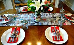 Woven newspaper table runner place mat party party decor by Serendipity Refined