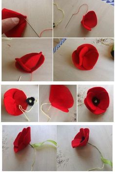 Fühlte mich Mohn, You are in the right place about DIY Fabric Flowers how to make Here we offer you the most beautiful pictures about the DIY Fabric Flowers how to make you are loo Easy Fabric Flowers, Felt Flowers Patterns, Diy Flowers, Paper Flowers, Flower Fabric, Felt Diy, Felt Crafts, Fabric Crafts, Sewing Crafts