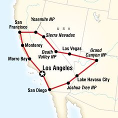 Stargaze in Los Angeles, marvel at a Grand Canyon sunset, get your kicks on Route take a chance in Las Vegas, camp under the stars, hike in Yosemite. Rv Travel, Travel Goals, Places To Travel, Adventure Travel, Travel Packing, San Diego, San Francisco, Road Trip Map, Las Vegas