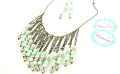 Light Green and Golden Beaded Necklace and Earrings by Beauterie