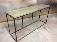Rustic Modern Sofa or Hall Table with Metal Base