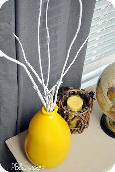 How to preserve and paint branches ( further down in the spray paint glass post