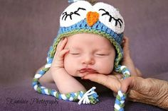 Whimsey Sitch by Sarah Blue and Green Owl Beanie -- Photo Prop -- Made to Order  #Handmade, #MMMakers, #MMMoney