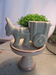 Soft Mint Donkey and Cart Planter