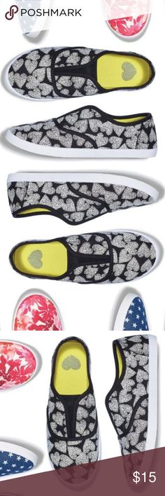 CRAZY FOR HEART PRINTS SLIP ON SNEAKERS CRAZY FOR HEART PRINTS SLIP ON SNEAKERS COLOR: BLACK/WHITE  MAN MADE MATERIALS WIPE WITH A DRY CLOTH MADE IN CHINA Avon Shoes Sneakers