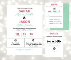 Modern Wedding Invitation - Modern Icons - DIY Printable at home - Edit in Adobe Reader - Wedding Kit by AntonDigitalDesigns on Etsy