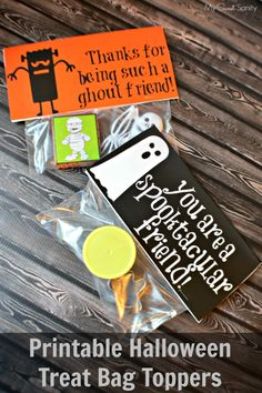 Two Free Printable Halloween Treat Bag Toppers