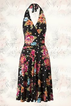 Vintage Chic - 50s Valencia Flower Polkadot Halter Dress in Black