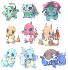 """Some Pokemon """"evolve"""" from one form to another. Their evolution normally always involves them getting better at battling other Pokemon. In this sense, Pokemon evolution is similar to the. Baby Pokemon, 3d Pokemon, Pokemon Bulbasaur, Charmander Tattoo, Pokemon Super, Chibi, Pokemon Starters, Pokemon Pictures, Pokemon Images"""