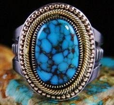 Sammie Begay Candelaria Spiderweb Turquoise 18K Gold, Ingot Sterling Silver Ring #SammieKescoliBegay