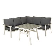 Sofagruppe bestående av 2 sofadeler, 1 hjørnedel og ett bord. Table, Furniture, Home Decor, Decoration Home, Room Decor, Tables, Home Furnishings, Home Interior Design, Desk