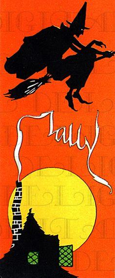 RARE Flying WITCH Above Smoking Chimney. Wonderful Witch Bridge Tally. Digital Halloween Download. Vintage Halloween Illustration by DandDDigitalDelights on Etsy https://www.etsy.com/listing/163900755/rare-flying-witch-above-smoking-chimney