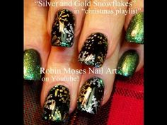 4 Nail Art Tutorials | DIY Easy Snowflake Nail Design | Silver & Gold Snowflakes - YouTube