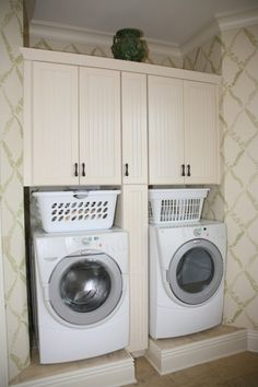 Laundry Room - love the idea of leaving room for the baskets to sit on top of the washer and dryer, up out of the way when not in use.