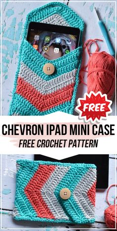 crochet Chevron iPad Mini Case free pattern - easy crochet bag pattern for beginners Crochet Phone Case Pattern Free, Crochet Case, Bag Pattern Free, Easy Crochet, Crochet Patterns, Crochet Ideas, Free Crochet, Crochet Projects, Clutch Pattern