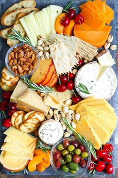 14 No-Cook Thanksgiving Appetizers That'll Keep Your Guests Happy Until Dinner 13 No-Cook Thanksgiving Appetizers That'll Keep Guests Happy Until Dinner: Cheese Board Charcuterie And Cheese Board, Charcuterie Platter, Cheese Boards, Cheese Board Display, Charcuterie Display, Slate Cheese Board, Antipasto Platter, Catering Display, Catering Food
