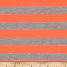 Rayon Blend Jersey Knit Stripes Neon Orange