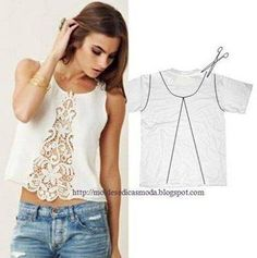 25 Inspirational Ideas for Transforming Your Old Shirts old t-shirt reuse ideas I would back the lace or use a fun cotton with a large print and fussy cut the pattern to create a fun edge like in the picturesCustomizar es la moda 2 ideas geniales up cycle Diy Clothing, Sewing Clothes, Upcycling Clothing, Recycled Clothing, Diy Fashion, Ideias Fashion, Fashion Tips, Fashion Sewing, Fashion Clothes
