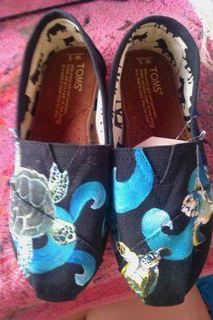 Turtle Treasures hand painted TOMS by PaintedLaceStudios on Etsy, $100.00. aye, sea turtles!!!!