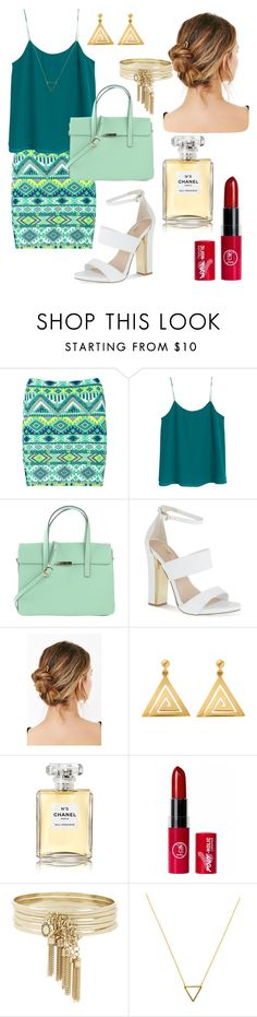 """Outfit #11"" by screepted ❤ liked on Polyvore featuring Boohoo, MANGO, Carvela, ChloBo, Chanel, BCBGeneration and Wanderlust + Co"