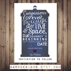 Doctor Who TARDIS Save The Date PRINTABLE, DIY, White Background  (customized) Unique