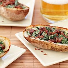 Baked Potato Skins with spinach & Bacon