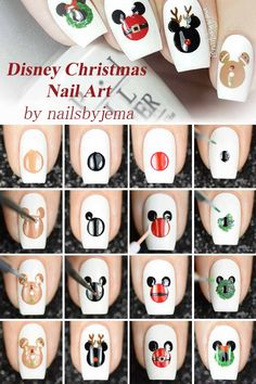 Disney Christmas Nail Art ❤️ Step by step Christmas nail art tutorial ideas . - Disney Christmas Nail Art ❤️ Step by step Christmas nail art tutorial ideas … – - Disney Christmas Nails, Xmas Nail Art, Christmas Nail Art Designs, Xmas Nails, Holiday Nails, Halloween Nails, Diy Nails, Manicure Ideas, Christmas Ideas