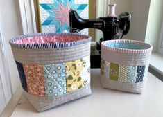 Introducing the Bigger Thread Catcher Basket (The Sewing Chick) Quilting Projects, Sewing Projects, Sewing Crafts, Craft Projects, Thread Catcher, Fabric Bins, Fabric Basket, Scrap Fabric, Applique Tutorial