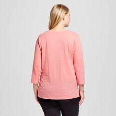 Women's Plus Size 3/4 Sleeve T-Shirt - Ava & Viv Coral Ice 1X