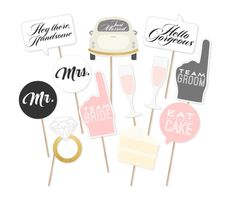 Printable Wedding Signs Photo Booth Props - Wedding Photobooth Props - Just Married Sign - Wedding Signs - Printable Wedding Decor - Mr Mrs by PrintablePropShop on Etsy https://www.etsy.com/listing/237909903/printable-wedding-signs-photo-booth