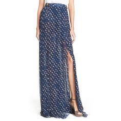 Diane von Furstenberg 'Bethune' Floral Print Silk Maxi Skirt (€505) ❤ liked on Polyvore featuring skirts, daisy buds tiny new indigo, silk skirt, long maxi skirts, front slit skirt, floral skirt and long floral skirts