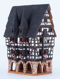 Ceramic handmade house miniature by Midene. Town hall in Alsfeld, Germany. B210