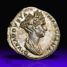 Marciana. Silver Denarius (3.28 g), Augusta, ca. AD 105-112/4.. EF Rome, under Trajan, AD 114. DIVA AVGVSTA MARCIANA, diademed and draped bust of Marciana right, hair in elaborately coifed row curls above brow and bound into tight bun high at back of head. CONSECRATIO, eagle, with wings displayed, standing left, head right. RIC 743; Woytek 719; BMC 650; RSC 4. Boldly struck and well centered with incredibly sharp detail. Delicate old cabinet toning adds to its appeal. . Marciana was Trajan's…