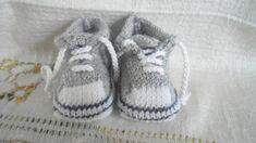 chaussons bébé/reborn forme basket coloris gris 0/3 mois