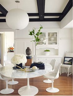 Black & White Coffered Ceiling