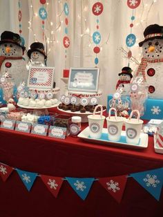 Tasty dessert table at a Winter Wonderland party.  See more party ideas at CatchMyParty.com.  #winterwonderlandpartyideas