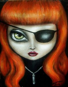 IT'S ON  gothic lowbrow steampunk big eye red head angry girl with eye patch by Nina Friday