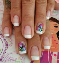 French Manicure Designs, Nail Designs Spring, Nail Polish Designs, Nail Art Designs, Shellac Nails, Toe Nails, Butterfly Nail Art, Short Nails Art, Beach Nails