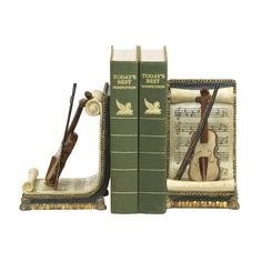 Sterling Pair Of Violin And Music Bookends. Bookends Are Another Great Desk Accessory That Help Keep Order While Adding A Touch Of Style. Share Your Appreciation Of Music With This Pair Of Violin And