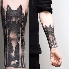 Wolf and forest on Aiden. #wolftattoo #blackwork #blackinkuk #btattooing #blackworkers #blxckink #onlyblacktattoos #cheltenham #foresttattoo #uktta