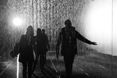 The Rain Room at The Barbican, London:  The room is fitted with 3D cameras that sense your location in the room, and automatically turn off the water valves above your head, allowing you to walk through the downpour without getting wet.
