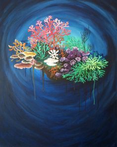 Original Art Acrylic Canvas Painting by Monica Downs Coral Reef 1 24x30 underwater sea life plants seaweed colorful ocean bottom floor wall by MonicaDownsArt on Etsy